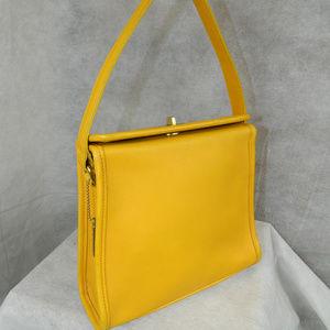 COACH Vintage Geometric Top Turnlock Bag Mustard